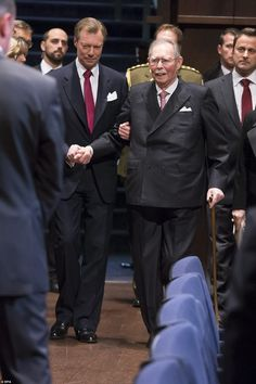 Former Grand Duke Jean (R) and Grand Duke Henri (L) of Luxembourg arrive. Jean, who lives at Fischbach Castle, reigned as Grand Duke of Luxembourg between 1964 and 2000. He abdicated and made way for his son, Grand Duke Henri, to take over as ruler