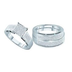 New BrianG | Micro Pave Diamond Engagement Collection 10k White Gold 0.60 Cttw Diamond Miro-pave Wedding Band Engagement Ring Trio Set