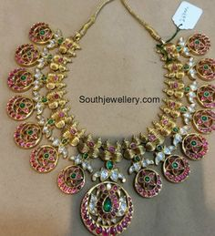 Bridal jewellery indian south simple New ideas Antique Jewellery Designs, Indian Jewellery Design, Latest Jewellery, Indian Jewelry, Jewelry Design, Fashion Jewellery, Wedding Necklace Set, Gold Jewelry Simple, Jewelry Patterns