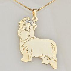 Semijoia Colar   Corrente dourada folheado a ouro com Pingente de cachorro  raça Yorkshire   PetLikers 66343601b6