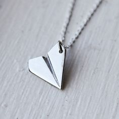 Paper Airplane Necklace- 925 Sterling Silver Chain- Origami Jewelry- Boy or Girl- Unisex- Fun Everyday Gift Idea Origami Charms, Origami Necklace, Origami Jewelry, Paper Jewelry, Jewelry Necklaces, Chain Jewelry, Funky Jewelry, Necklace Charm, Silver Jewellery