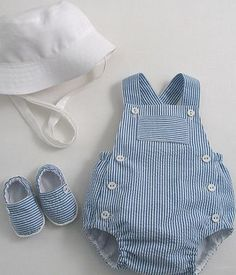 Baby Sunsuit, Sunhat and Espadrilles – Patricia Smith Designs by polly – babykleidung ideen Trendy Baby Boy Clothes, Baby Boy Outfits, Kids Outfits, Baby Boy Fashion, Kids Fashion, Fashion Outfits, Baby Sewing, Kids Wear, New Baby Products