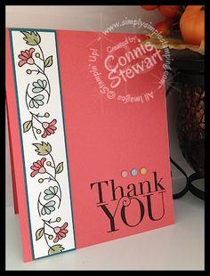 FLASH CARD 2.0 - Thank You Flower Border Card by Connie Stewart - www.SimplySimpleStamping.com