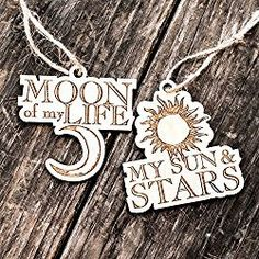 Game of Thrones Christmas Ornament - Moon of My Life - My Sun and Stars - Set - Raw Wood 3x3in