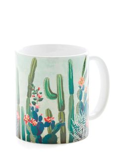 Cactus What You Preach Mug. Sip the same herbal remedies you offer your friends and clients in this cactus-printed mug! #gold #prom #modcloth