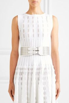 Alaïa - Laser-cut Leather Waist Belt - White - 80