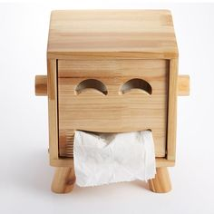 Fancy | Wooden Smiley Face Tissue Box