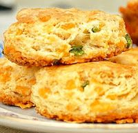 Jalapeno Cheese Biscuits-add a seeded and diced jalapeno and shredded cheddar to the biscuit recipe. Now just roll, cut, and bake for 10 to 12 minutes.