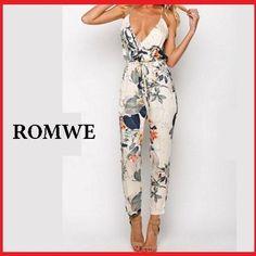 【送料込】ROMWE 花柄スリムジャンプスーツ オールインワン