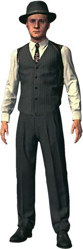 Hawkshaw outfit for Cole Phelps in L.A. Noire. (Pinned 17/10/2014) Justice character design research.