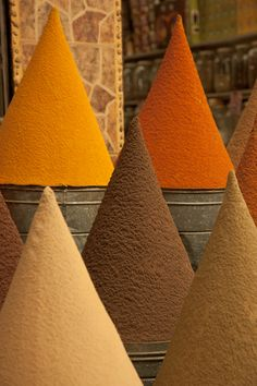 Cottage Charm ~ Spices ~ Cones of Spices in the Souks of Marrakech ~ brown, cream, mustard yellow, orange