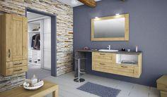 Salle de bain cosy, nature et contemporaine grâce à l'authenticité du bois. (Cuisines You - Gamme créative, Modèle Penon)