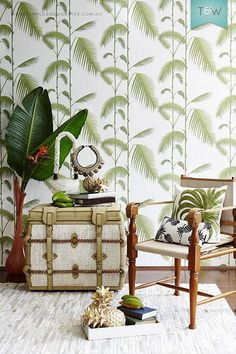 colonial style interior – Sentosa Designs Cole Son - Palm Jungle from Contemporary Restyled CollectionCole Son - Palm Jungle from Contemporary Restyled Collection Tropical Home Decor, Tropical Interior, Tropical Houses, Tropical Furniture, Coastal Interior, Tropical Design, Retro Wallpaper, Wallpaper Decor, Coastal Style