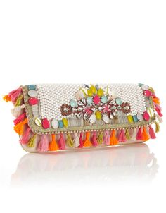 Suzie Tassel Beaded Clutch  3893019900  £47.00  Unique and exotic heavily embellished clutch with bright summery beading, shell and diamante detail and tassel all around trim. Statement wow clutch perfect for summer.