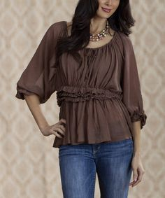 Take a look at this Brown CeeCee Babydoll Top by Rancho Estancia on #zulily today! type 2