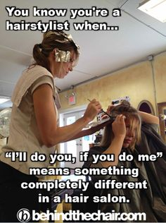 Lol, doing each other's hair. #Only a hairstylist would say....lol , and not realize how weird that sounds