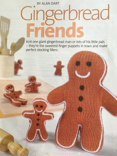 Excited to share the latest addition to my #etsy shop: Alan Dart's Gingerbread Friends Gingerbread Man, Gingerbread Cookies, Alan Dart, Finger Puppets, Stocking Fillers, Stuffed Toys Patterns, Stockings, Etsy Shop, Knitting