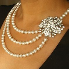 Pearl and Crystal Bridal Necklace Rhinestone Wedding by luxedeluxe, $148.00