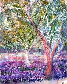 Provence Lavender And Olive Trees Canvas Print / Canvas Art by Sabina Von Arx Provence Lavender and Olive Trees. Typical southern french landscape in the Provence with old olive Tree Canvas, Canvas Art, Canvas Prints, Art Prints, Black Christmas Tree Decorations, Christmas Tree Background, Landscape Paintings, Watercolor Paintings, Original Paintings