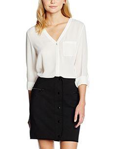 New Look Women's V-Neck Bubble Button Detail Blouse, Off…