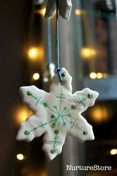 Snowflake mobile and a homemade white clay recipe - great for winter crafts for kids and homemade Christmas decorations