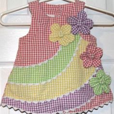 Bonnie Baby Sz 3-6M Seersucker Multicolor Pastels Flower Sleeveless Dress 3M 6M #BonnieBaby
