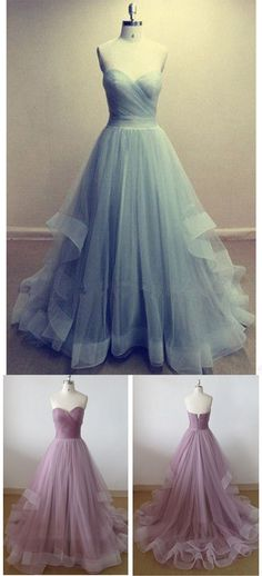 Hot Sale Charing Sweetheart A-line Tulle Floor Length Prom Dresses Evening Gowns