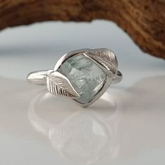 Raw Uncut Aquamarine Leaf Ring Solid 14k White Gold Ring Wedding Engagement Rough Gemstone Ring Statement Ring Stacking Ring by Dawn by DawnVertreesJewelry on Etsy