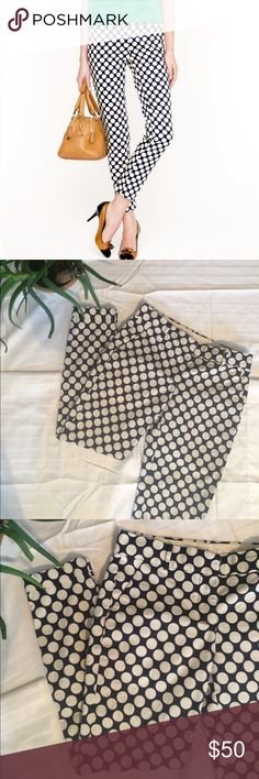 "J. Crew Polka Dot cafe capri size 0 Cropped pants by j. Crew navy pants with large white polka dots! Cuffed at the bottoms. Waist across is 14.5"" 👌🏻condition J. Crew Pants Ankle & Cropped"