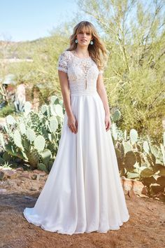 0872ad5bb317 Lillian West - Style 6508  Short Sleeve Gown with Silk Chiffon Skirt and  Keyhole Back