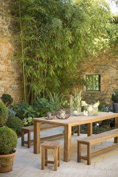 Ensemble mobilier de jardin - Table, tabouret et bancs - Gamme Flore