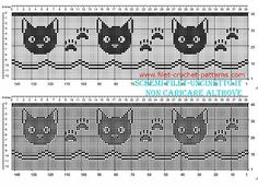 Free filet crochet border pattern with cat faces and fingerprints width 34 squares - free filet crochet patterns download