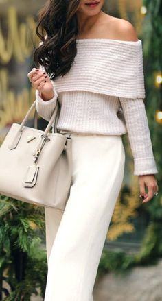 Ivory + off the shoulder.