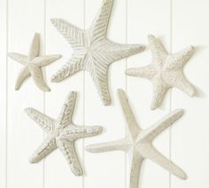 Pottery Barn - Carved Wood Starfish, Set Of Detailed hand carving gives each of these seaside icons its own individual character. Made of hand-carved mango wood. Coastal Homes, Coastal Decor, Coastal Cottage, Coastal Style, Decor Crafts, Art Decor, Decor Ideas, Decorating Ideas, Thinking Day