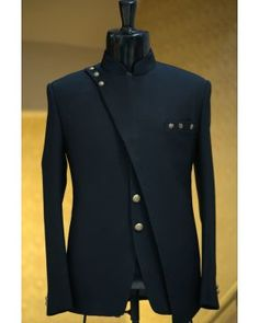 Buy Navy Blue Woven Italian Jodhpuri Suit Online - Jodhpuri suits for men - Mens Indian Wear, Indian Groom Wear, Indian Men Fashion, Mens Fashion Wear, Suit Fashion, Fashion Hats, India Fashion Men, Mens Ethnic Wear, Mens Fashion Blazer