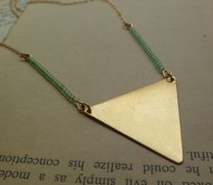 Triangle necklace with mint green beads by littlepancakes on Etsy, $28.00