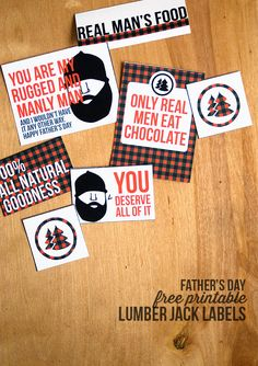 Free printable Lumberjack Snack labels - perfect for a Father's Day treat or campout! Creative Gift Baskets, Creative Gifts, Cool Gifts, Fathers Day Crafts, Happy Fathers Day, First Birthday Parties, First Birthdays, Birthday Ideas, World's Greatest Dad