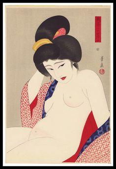 Ōhira Kasen - The Beautiful Nude, gravure sur bois en couleur de la série Vingt-quatre figures de femmes charmantes