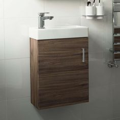 Portland Walnut Effect Slimline Basin Unit - Wall Hung