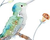 whimsical bird Art Print, humming bird painting, watercolor painting, turquoise, green bathroom wall decor, spring decor - Hummer Puffs