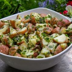 Herb Potato Salad - Two Kooks In The Kitchen Best Potatoe Salad, Baby Potato Salad, Herbed Potato Salad, Best Potato Salad Recipe, Potato Salad Dressing, Vegan Potato Salads, Sweet Potato Tacos, Potato Pasta, Salad With Sweet Potato