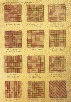 Brick patterns- inspiration for wine cork trivet patterns   A great DIY wine project to upcycle those leftover wine corks into gifts.