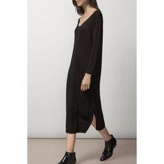 $22.05 Stylish V-Neck Long Sleeve Solid Color Slit Women's Dress