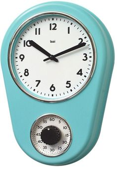 Off Retro Turquoise Kitchen Timer Wall Clock by Bai Design. @ Spray painted ABS bezel with Chrome finished accents @ Spray painted metal hands @ Build in one hour timer for cooking @ Assembly not required @ Manufactured in China Retro Kitchen Clocks, Kitchen Wall Clocks, Retro Clock, Retro Kitchens, Kitchen Rug, Clock Wall, Ivory Kitchen, Kitchen Stuff, Red Kitchen