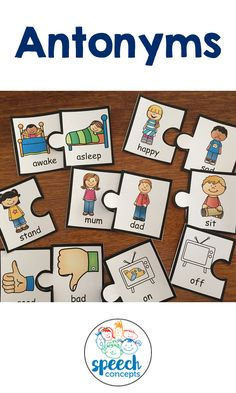 Welcome to our Building Vocabulary series. Our first resource in this series targets Antonyms. With 24 colourful images for common antonyms, your students can practice in a fun way.. The jigsaw pieces can be used as a jigsaw or as cards. Abc Preschool, Prek Literacy, Literacy Centers, Preschool Ideas, Bead Board Walls, Receptive Language, Vocabulary Building, Speech Therapy Activities, Kids Corner