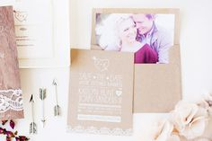 Oh So Beautiful Paper: Kaitlyn + John's Rustic Glam Wedding Invitations