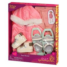 LILLY - got it. Our Generation® Deluxe Outfit - Snowshoe : Target Our Generation Doll Accessories, My Life Doll Accessories, Our Generation Doll Clothes, Poupées Our Generation, American Girl Accessories, Cosas American Girl, All American Girl Dolls, American Girl Furniture, Girls Furniture