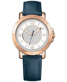 Tommy Hilfiger Women's Sophisticated Sport Rose Gold-Tone Crystal Leather Strap Watch 34mm 1781627