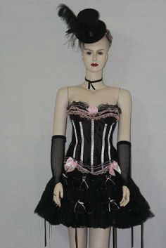3f6b63e4a6 Pink and Black corset and matching skirt plus accessories. size Medium  Burlesque   showgirl