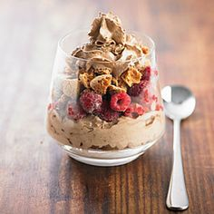 Divide the raspberries between four parfait dishes or glasses. Sprinkle with chopped amaretti biscuits and top with a large swirl of Chef de Can® Chocolate Mousse. Serve immediately. Amaretti Biscuits, Choc Mousse, Fruit In Season, Dessert Recipes, Desserts, Fresh Fruit, Parfait, Raspberry Chocolate, Blueberry